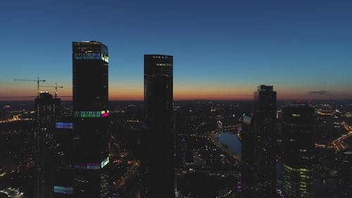 Skyscrapers and City Skyline at Morning Twilight. Aerial View