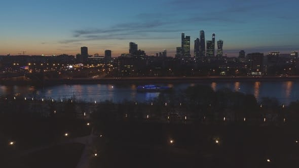 Thumbnail for Illuminated Moscow International City Business Center and Skyline at Evening Twilight. Aerial View
