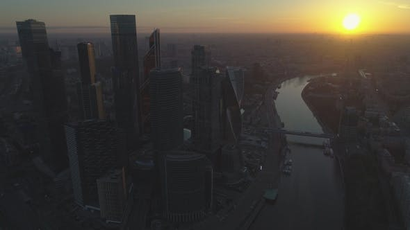 Thumbnail for Aerial View od Skyscrapers of Moscow City Business Center and Cityscape at Sunny Sunrise