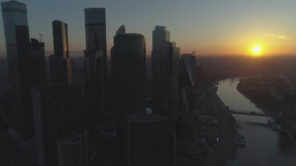 Thumbnail for Moscow City International Business Center and City Skyline at Sunny Sunrise