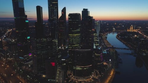 Aerial View of Moscow City International Business Center and City Skyline at Sunny Sunrise
