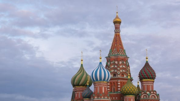 Thumbnail for Saint Basil Cathedral and Clouds in Moscow, Russia