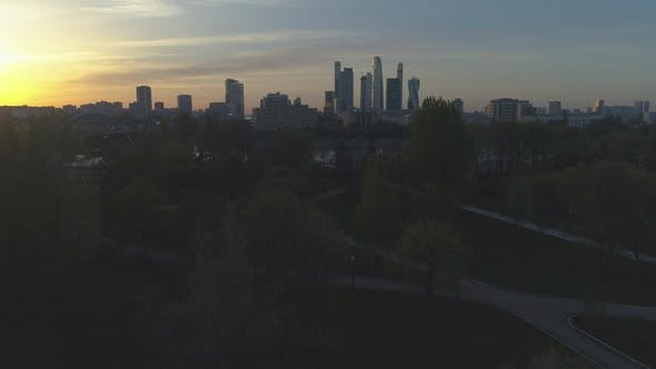 Moscow International City Business Center and Skyline in Sunny Evening. Aerial View