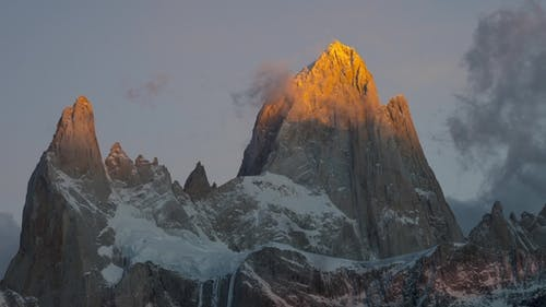 Mount Fitz Roy and in the National Park Los Glaciares National Park at Sunrise