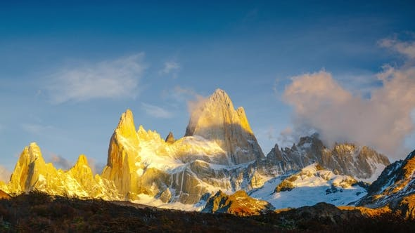 View of Mount Fitz Roy and in the National Park Los Glaciares National Park at Sunrise
