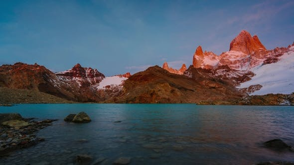 Thumbnail for View of Mount Fitz Roy and the Lake in the National Park Los Glaciares National Park at Sunrise