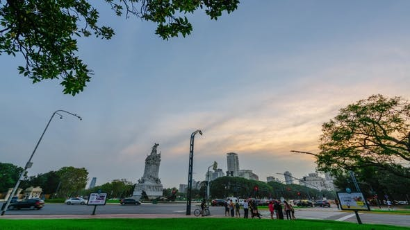 Thumbnail for View on Monumento De Los Españoles During Sunset at Buenos Aires . Autumn in Latin America