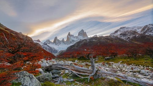 View of Mount Fitz Roy and the River in the National Park Los Glaciares National Park at Sunrise