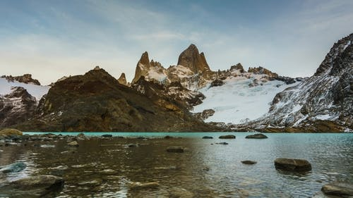 View of Mount Fitz Roy and the Lake in the National Park Los Glaciares National Park at Sunrise