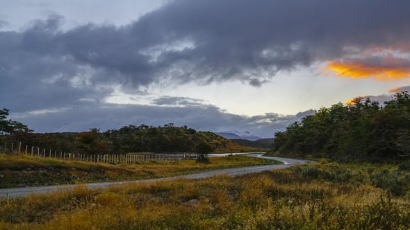 Thumbnail for View on Road Near Ushuaia During Sunset. Autumn in Patagonia, the Argentine Side