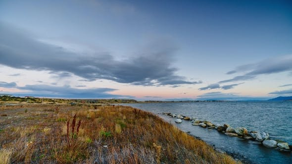 Thumbnail for View on the Bay During Sunset at Puerto Natales  Autumn in Patagonia, the Chile Side