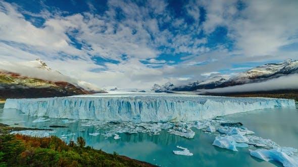Glacier Perito Moreno in the Park Los Glaciares Autumn in Patagonia, the Argentine Side
