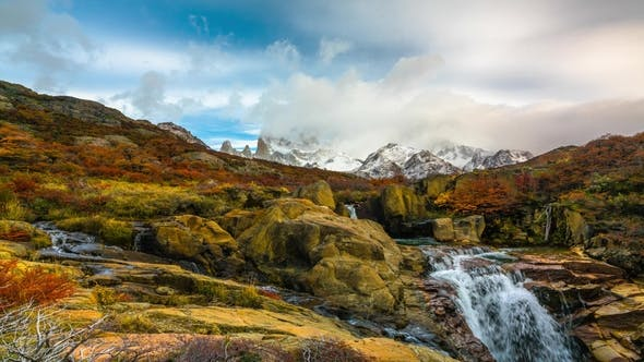 Thumbnail for View of Mount Fitz Roy and the Waterfal in the National Park Los Glaciares National Park at Sunrise