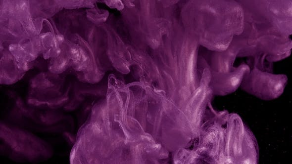 Thumbnail for Ink in Water. Colour Violet Glitter Paint Reacting in Water Creating Abstract Cloud Formations