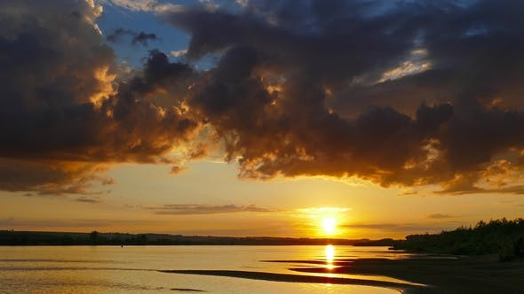 Thumbnail for Beautiful Landscape with Sunset Over River,