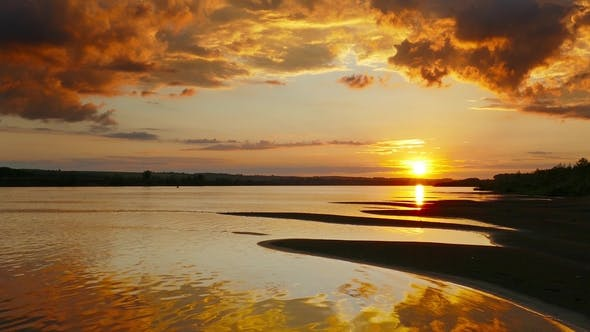 Thumbnail for Beautiful Landscape with Sunset Over River