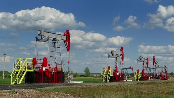 Thumbnail for Working Oil Pumps in Row at Sunny Day