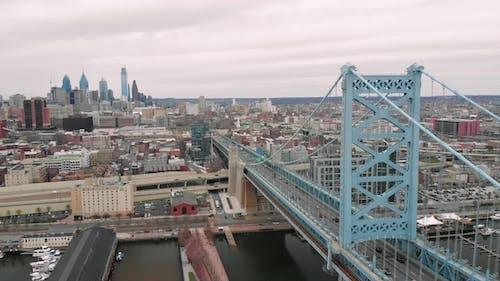 Aerial of the Ben Franklin Bridge in Philadelphia, Pennsylvania