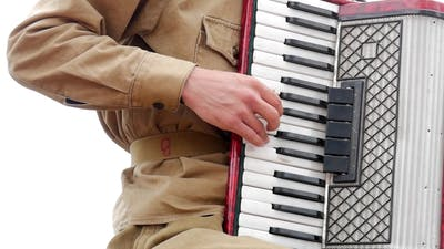 Musician Playing the Accordion. Hand Playing Accordions . Accordion Player.