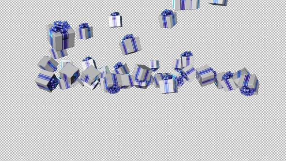 Thumbnail for White Gift Box Rain Alpha Background