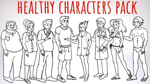 Thumbnail for Healhty Lifestyle - Sport, Fitness, Medicine Characters - Doodle Whiteboard Animation