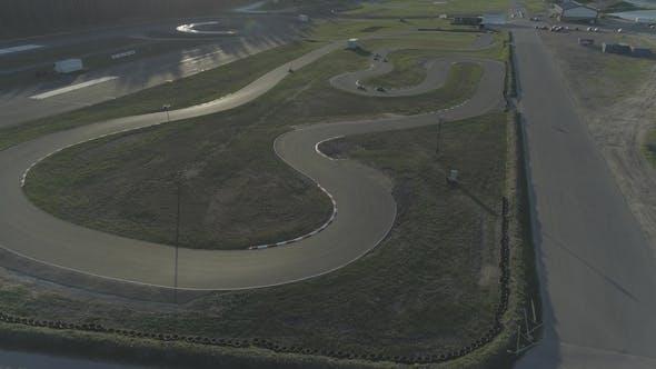 Thumbnail for Summer Cart Track Karting Drone Flight Asphalt Race  Carting