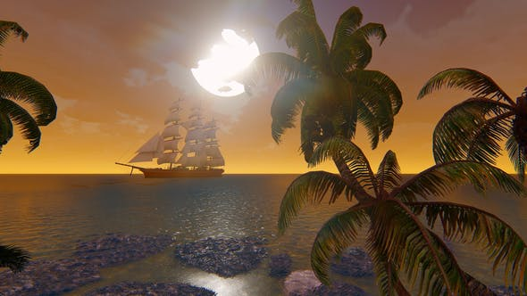 Thumbnail for Sailing Ship At Sunset