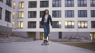 Teen Girl Riding a Longboard