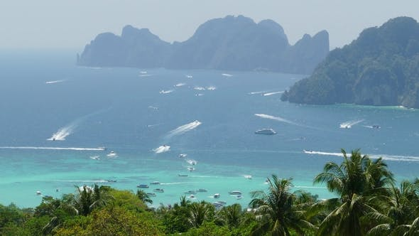 Thumbnail for Many Tourist Yachts Near Phi Phi Island