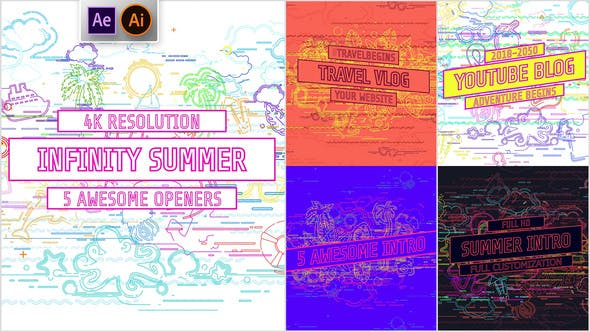 Thumbnail for Youtube/ Infinity Summer Openers/ Social Media/ Line Icons/ Cartoon/ Music Dance Party/ IGTV/ Event