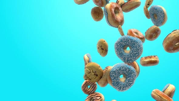 Thumbnail for Different Donuts on a Blue Background