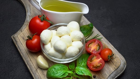 Thumbnail for Ingredients for Caprese Salad - Mozzarella, Tomatoes, Basil Leaves, Olive Oil