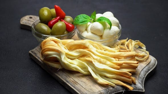 Thumbnail for Video of Smoked Braided Cheese, Mozzarella and Olives