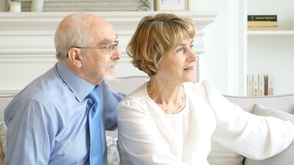Thumbnail for Portrait Retired Seniors Caucasian Couple, They Embrace and Spend Time Together