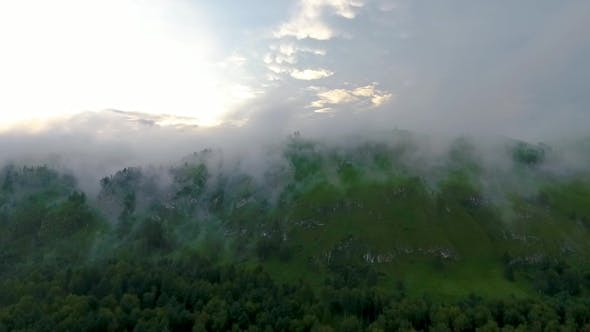 Thumbnail for Aerial View of the Katun River and Hills During the Fog After the Rain. The Republic of Altai