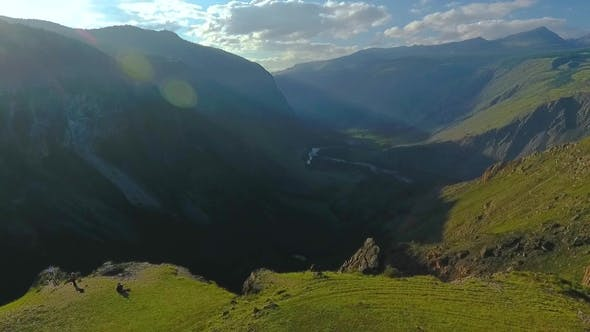 A View From the Air To the Chulyshman Valley Before Sunset. The Republic of Altai, Russia