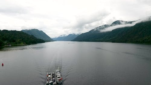 Aerial View of Lake Teletskoe and the Barge After the Rain