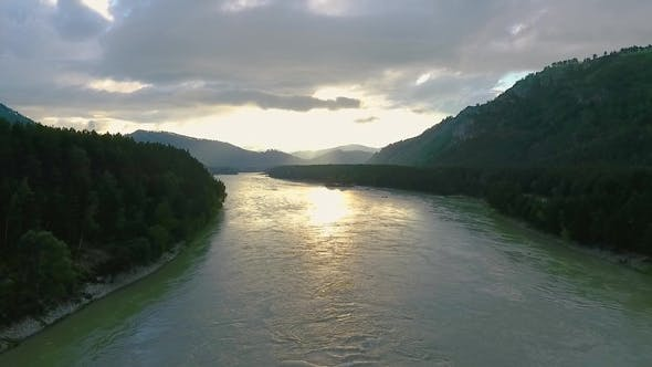 Katun River and Hills During Sunset After Rain. The Republic of Altai, Russia