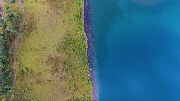 Thumbnail for Aerial View of Ivanovskie Lakes, Waterfall, Glacier After Rain and Before Sunset, Republic of