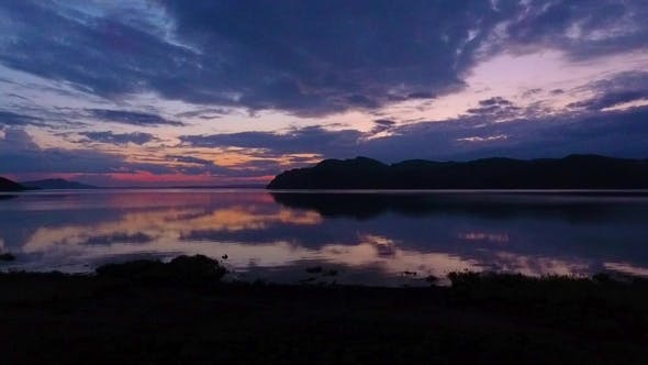 Thumbnail for Aerial View of the Yenisei River during Sunset in the Republic of Khakassia