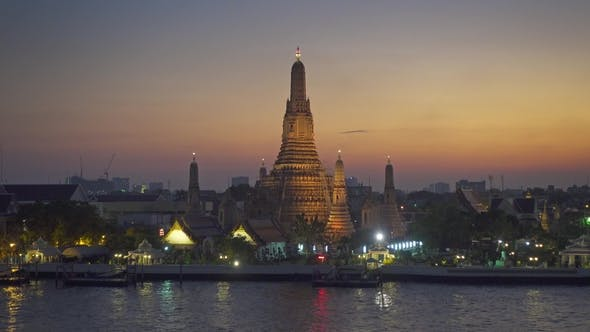 Thumbnail for Landscape with Wat Arun at Twilight Time in Bangkok