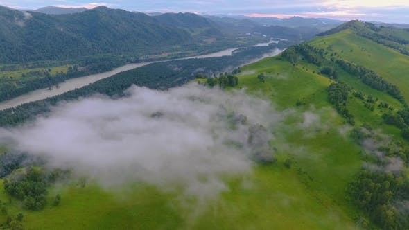 Cover Image for Katun River and Hills During the Fog After the Rain. The Republic of Altai