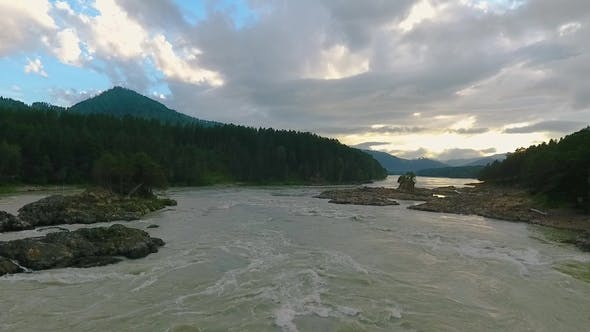 Thumbnail for Katun River and Hills During Sunset After Rain. The Republic of Altai, Russia