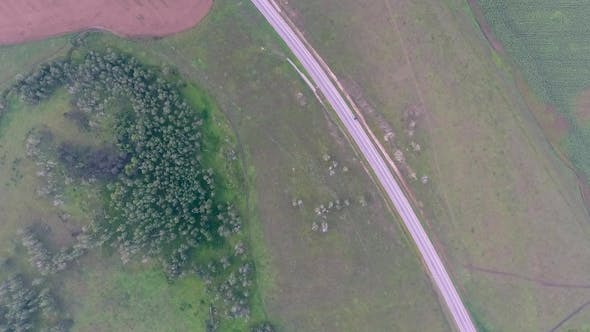 Thumbnail for Aerial View of the Fields, Forest and Road in the Krasnoyarsk Territory