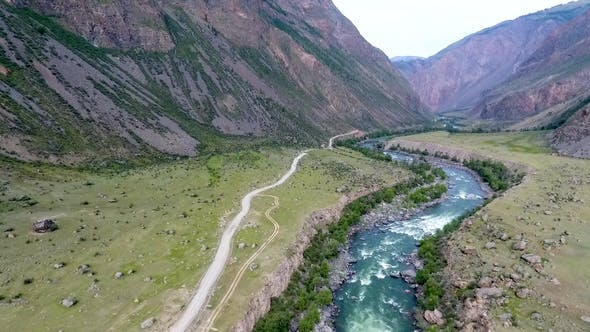 Cover Image for Aerial View of the Chulyshman Valley and the River in the Republic of Altai