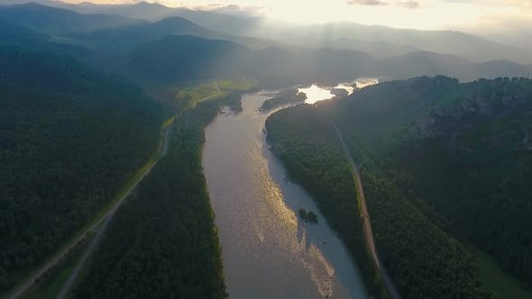 Thumbnail for Aerial View of the Katun River and Hills during Sunset after Rain