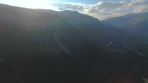 Aerial View of the Chulyshman Valley before Sunset in the Republic of Altai
