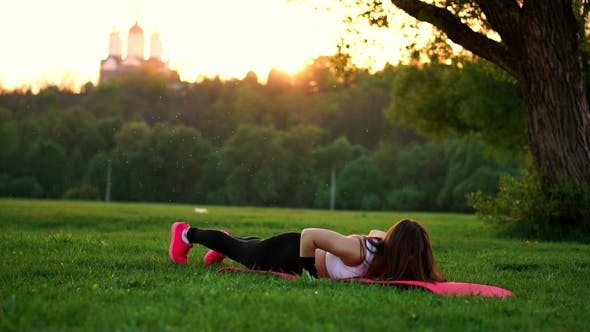 Thumbnail for Push ups or Press ups Exercise by Young Woman on Grass