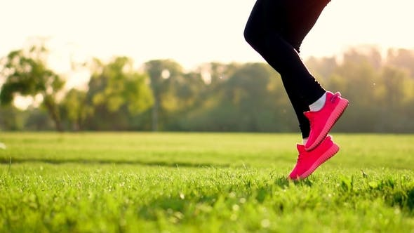Cover Image for Sporty Girl in a White Top and Pink Sneakers Makes the Warm-up on the Grass