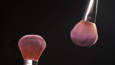 Cosmetic Brush with Pink Cosmetic Powder